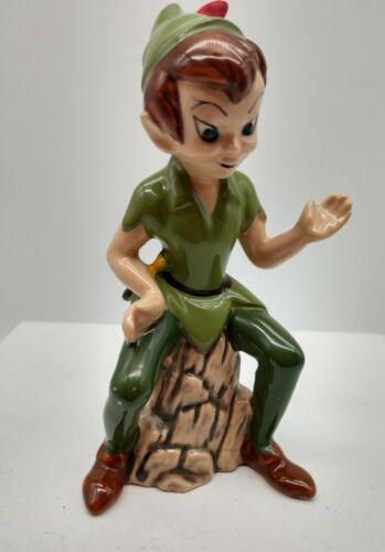 "Vintage Disney Peter Pan 5"" Ceramic Figurine Japan  sitting on log"