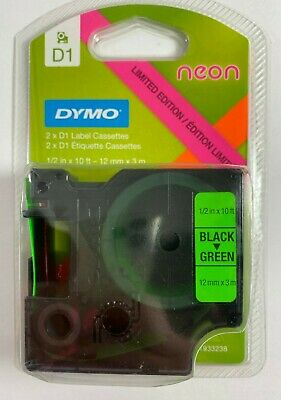 New Dymo D1 Labeling Tape 2-pack Neon Pink Neon Green 1933238