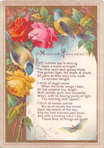 Religious Old Reward of Merit Card-Birds & Roses Around Poem Morning Thoughts