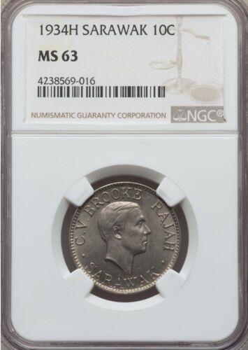 1934 H Sarawak 10 Cents, NGC MS 63, Malaysia