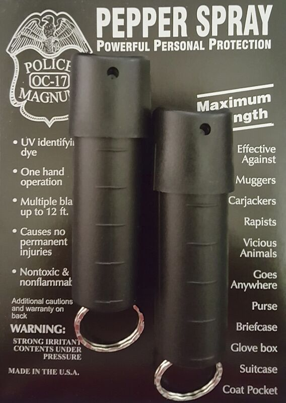 2 Police Magnum pepper spray 1/2oz black spin top keychain self defense security
