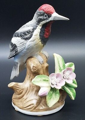 "*Vintage* Eda Mann Milano Porcelain Sculpture Woodpecker Bird 5.5"" Tall"
