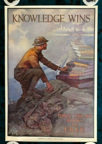 WWI WW1 Original War Poster Knowledge Wins Library Books Military Home Front USA