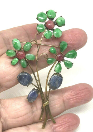 Early Apple Green Jadeite/ Jade Chinese Flower Pin with Sapphire & Tourmaline