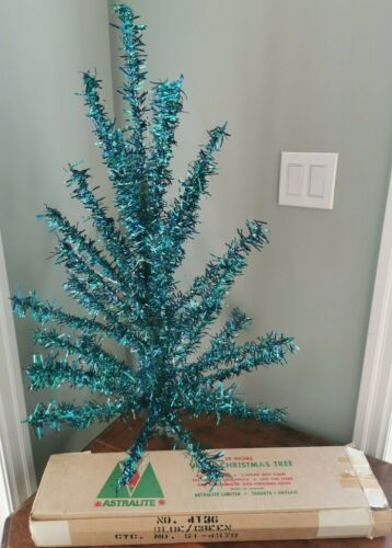 "Christmas Tree Vinyl Vintage Rare Blue Green 38"""