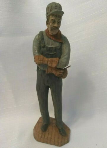 "Railroad ""Man w/Oil Can"" Carved Wooden Figure_Fred Curtis Design"