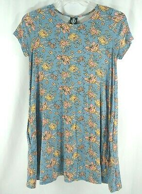 Agnes & Dora Tunic Dress Floral Blue Pockets Soft Size Small Womens Short Sleeve