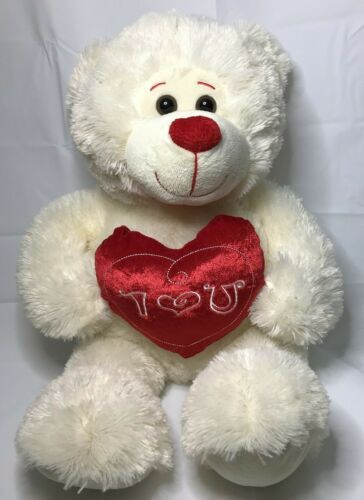 "Valentine Bear 16"" Sitting Large Cream Plush Red Heart Pillow I Love U Red Nose"
