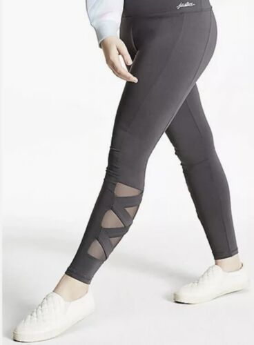 NWT Justice Girls Gray Mesh Strappy Leggings w/ Thigh Pocket!  Choose Size! 💕💕