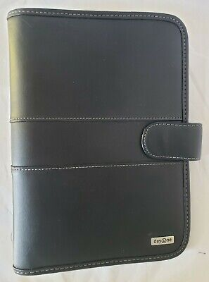Franklin Covey Day One Black Faux Leather Planner 3 Ring Organizer Binder