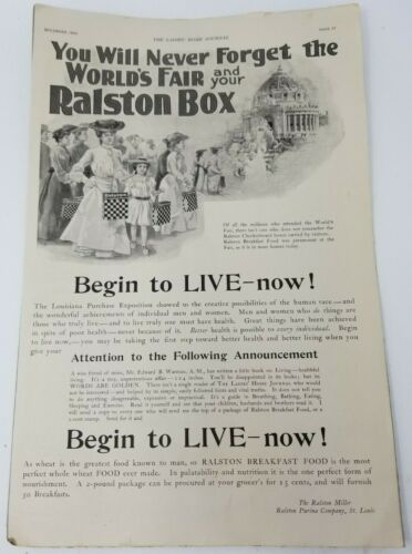 December 1904 Ladies Home Journal Ralston Box Cut Sheet Ad 1904 World