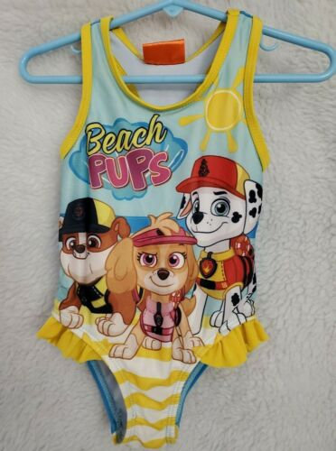 Nickelodeon Girls Multi Color Beach Pups Swimsuit Bathing Suit Size 2T
