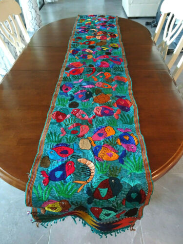 Colorful Embroidered Guatemalan Textile Table Runner Wall Hanging Fish & Turtles