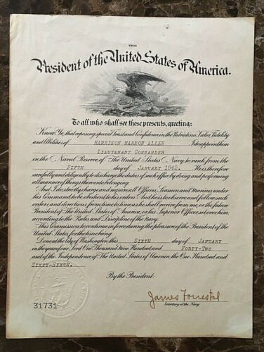 ORIGINAL WW2 PRESIDENTIAL APPOINTMENT AUTOGRAPHED BY SEC of NAVY JAMES FORRESTAL