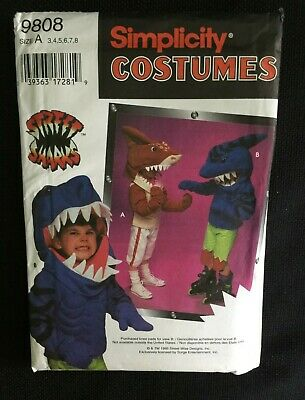 Street Shark Costume (Uncut Simplicity 9808 Street Sharks Childs 3 4 5 6 7 8 Big Slammu)