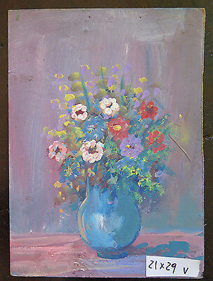 Painting Vintage oil On Board Theme Floral Blossom Half Twentieth Century 900 V
