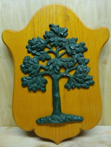 Tree Firemark Vintage Figural Cast Metal Mounted Wooden Plaque Sign Safety Ad