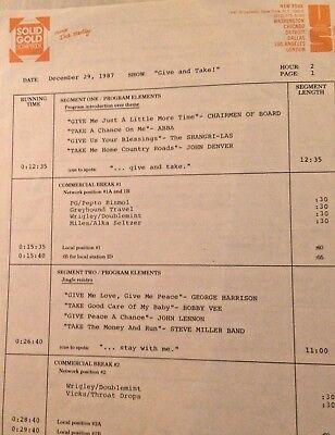 RADIO SHOW:GIVE/TAKE12/29/87 JOHN DENVER,BOBBY VEE,JOHN LENNON,ABBA,STEVE MILLER