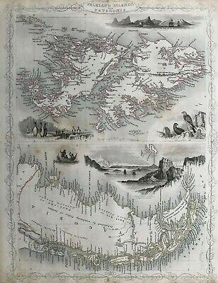 1851 Antique Map; Falkland Islands & Patagonia - John Tallis / Rapkin