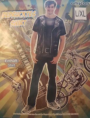 Bedrucktes Shirt Kostüm Rocker T-Shirt  S/M & L/XL Karnevalskostüm - Rocker Kostüm