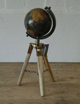 Vintage Rustic Black Brass Metal Rotating World Globe Atlas Decor Wooden Tripod