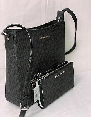 MICHAEL KORS Black Travel Messenger Crossbody Bag or Double Zip Wallet Wristlet
