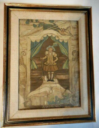 Antique Framed Silkwork Silk Work Needlework Embroidery 17th Century Man