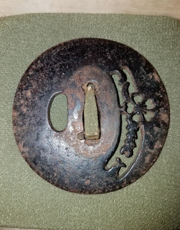 #212 OLD IRON Tsuba. Cherry Blossom. Sukashi. EDO PERIOD