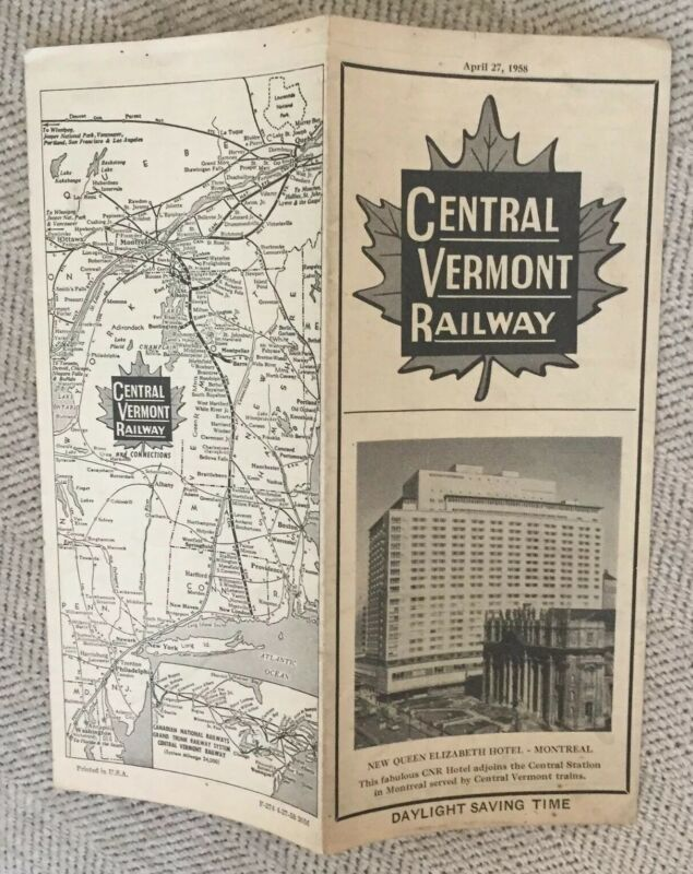 Central Vermont Railway 4/27/58 Public Timetable