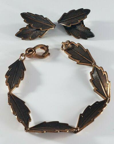 Vintage Copper Bracelet Clip On Earrings Set Lot Autumn  Fall Leaves UNIQUE 🦃