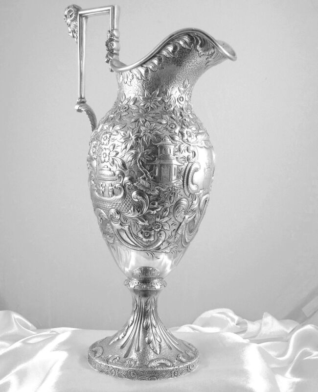 FINEST SAMUEL KIRK COIN SILVER  REPOUSSE EWER/PITCHER, CHINESE ETRUSCAN  c.1840