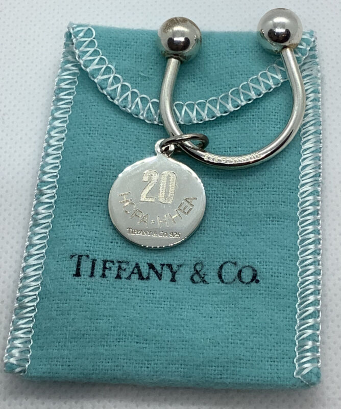 TIFFANY & CO. STERLING SILVER HORSE SHOE ROUND TAG KEY CHAIN