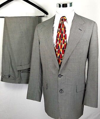 Hickey Freeman Suit Size 42 Long 34 x 31 Gray Black Houndstooth Wool Two Button