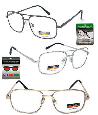 Multi Focus   Reading Glasses 3 Strengths In 1 Reader Large Square Metal Frame