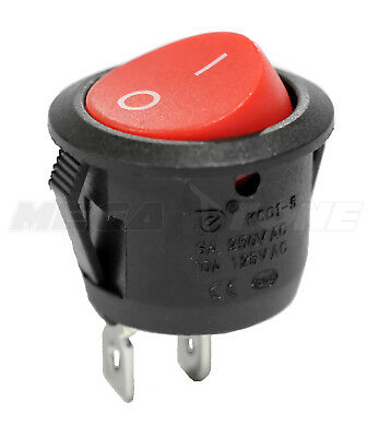 Spst Kcd1 On-off Round Mini Rocker Switch Wred Actuator 6a250vac Usa Seller