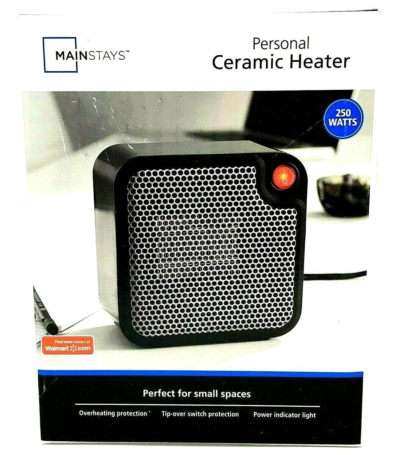 Mainstays Mini Ceramic Space Heater Electric 250 Watt Choose