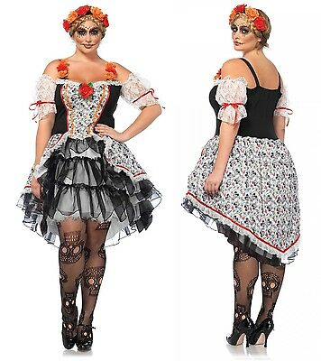 Dia De Los Muertos Plus Size Costumes (Day of the Dead Sugar Skull Dia de los Muertos Plus Size Costume 1X 2X 3X)