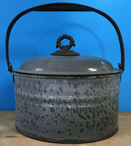 Antique Grey Gray Graniteware Enamelware Mottled Butter Storage Bucket Lunch box
