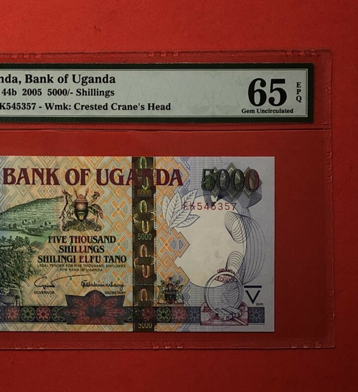 UGANDA-2015-5,000 SHILLINGS BANKNOTE,GRADED BY PMG GEM UNCIRCULATED 65 EPQ