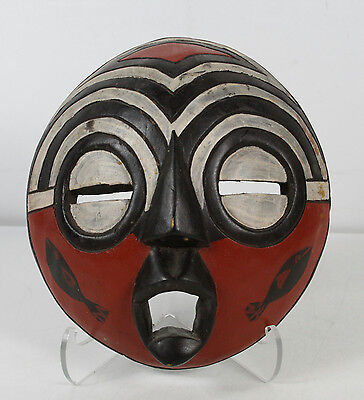 Vintage Hand Carved Painted African Tribal Wall Mask