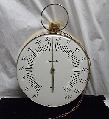 """vintage POCKET WATCH THERMOMETER 12"""" glass & metal OHIO with chain & fob COOL"""
