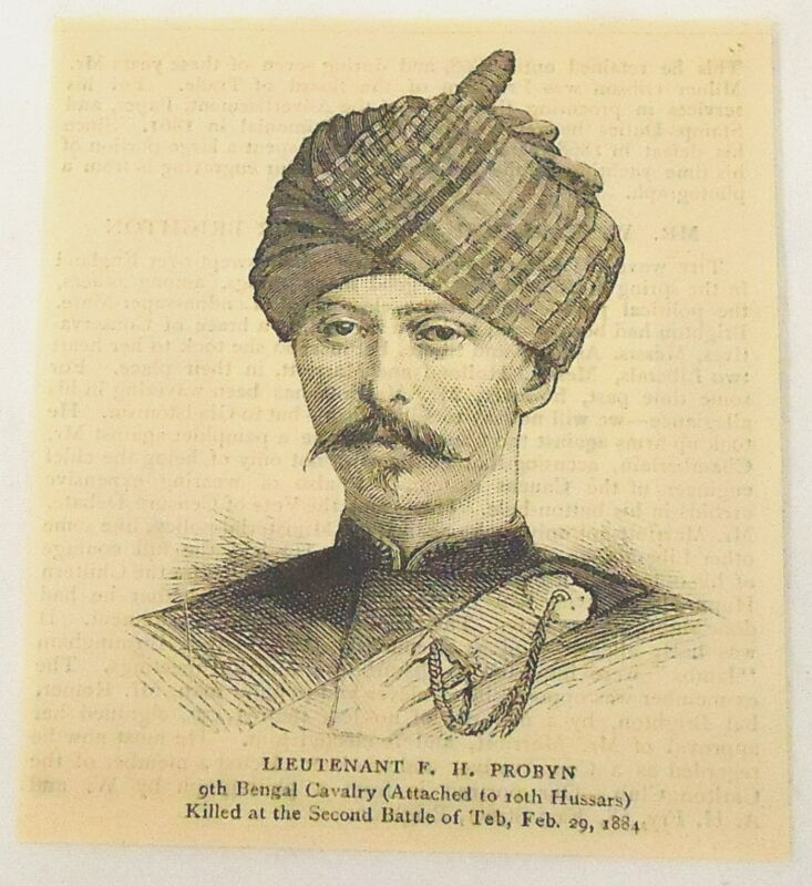1884 magazine engraving Lieutenant F.H. PROBYN 9th Bengal Cavalry British Forces