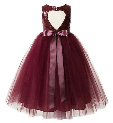 Girl Dresses For Weddings (Sequin Heart Cutout Flower Girl Dresses Wedding Dress Junior Bridesmaid)