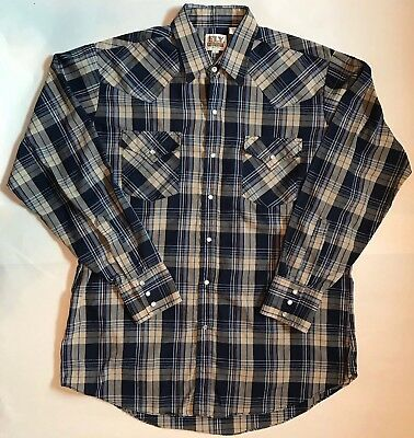 Ely Cattleman Pearl Snap Western Dark Blue Brown Plaid Mens Large CL21