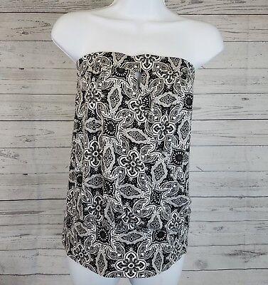 Old Navy Womens Tube Top Sz Medium Gray Black Floral Keyhole