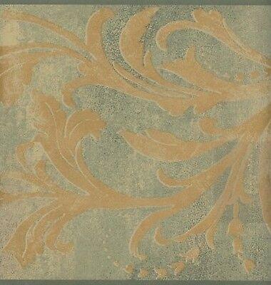 Wallpaper Border Gold Acanthus Scroll On Green Faux - Green Scroll Wallpaper