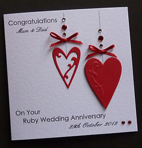 Handmade Personalised Ruby Wedding Anniversary Card