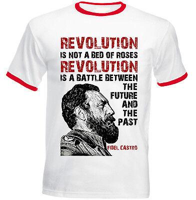 - FIDEL CASTRO REVOLUTION QUOTE - RED RINGER COTTON TSHIRT