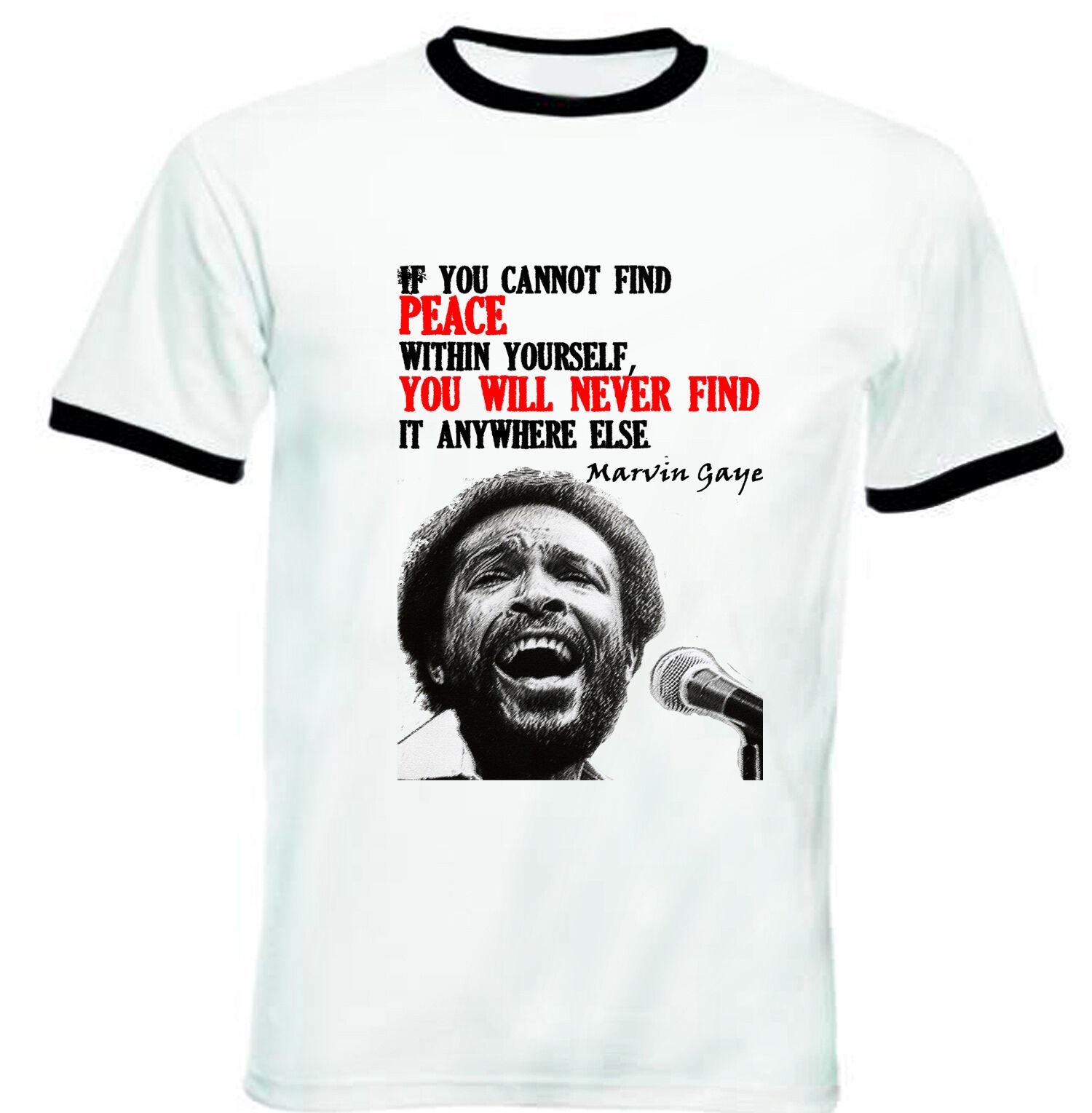 Mens Marvin Gaye Classic Comfortable Short-Sleeve Crewneck Cotton T-Shirt Black