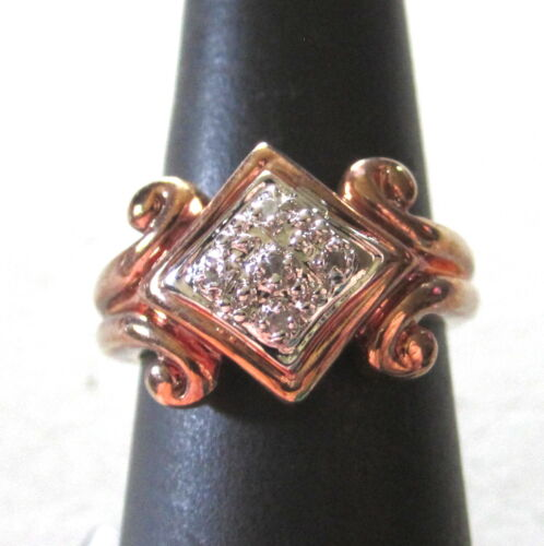GORGEOUS VINTAGE 925 STERLING SILVER RING SIZE 7 ROSE GOLD VERMEIL CLEAR STONES